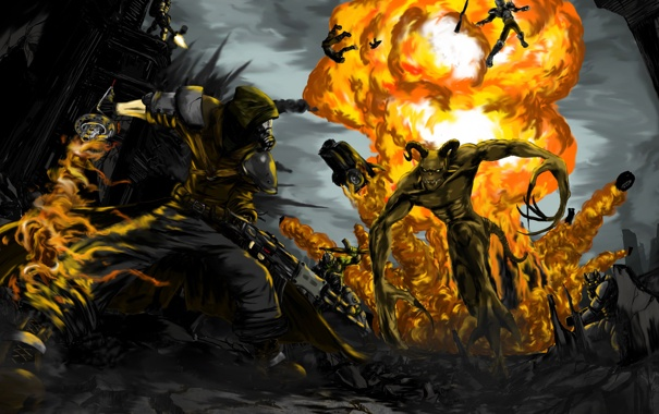 Фото обои бой, fallout, коготь смерти