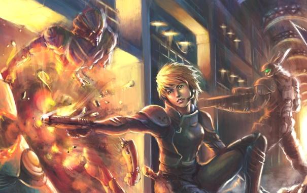 Фото обои пистолет, взрыв, девушка, киберпанк, appleseed