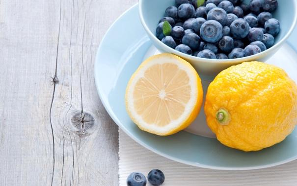 Фото обои ягоды, черника, тарелка, фрукты, цитрусы, лимоны