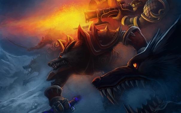 Фото обои снег, оружие, войны, арт, волки, World of Warcraft Tribute, Rise of Lycans