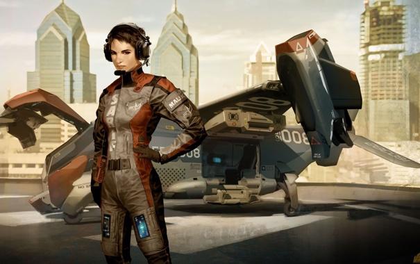 Фото обои девушка, самолет, игра, графика, арт, пилот, Deus Ex