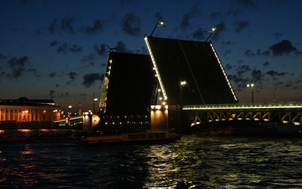Фото обои Санкт-Петербург, разводной мост, Нева