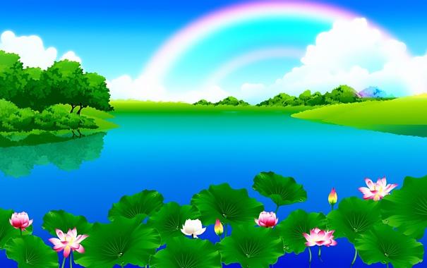 Фото обои небо, облака, деревья, пейзаж, цветы, река, радуга