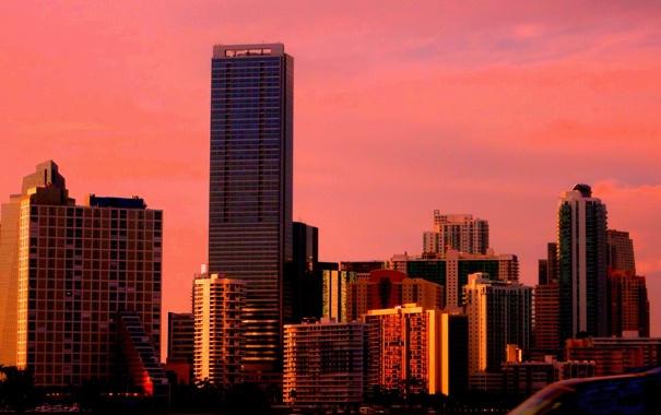 Фото обои закат, здания, дома, вечер, майами, флорида