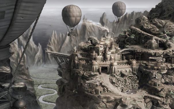 Фото обои город, река, воздушные шары, скалы, долина, арт