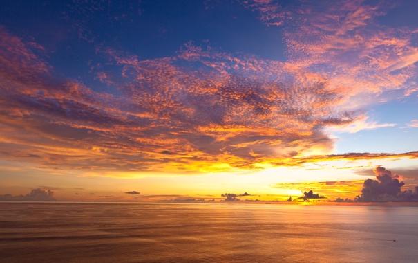 Фото обои закат, облака, Indonesia, Индонезия, океан