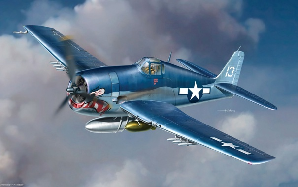 Фото обои авиация, истребитель, арт, американский, Grumman, Hellcat, палубный