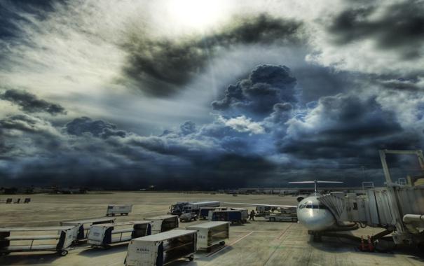 Фото обои aircraft, clouds, people, Airport, cargo