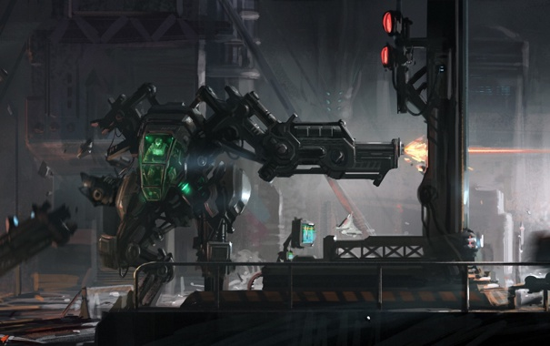 Фото обои машина, город, оружие, человек, робот, арт, битва