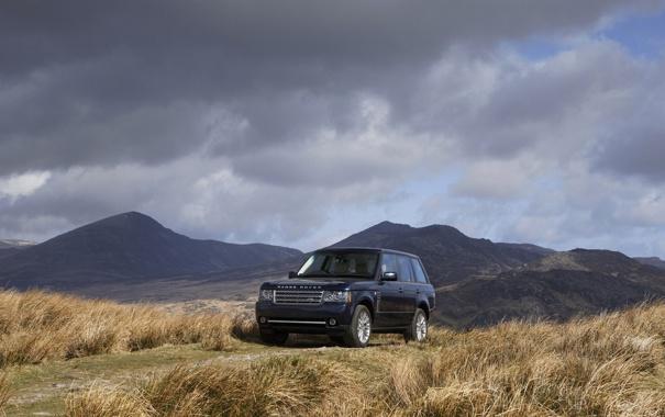 Фото обои поле, авто, трава, машины, black, land rover, range rover