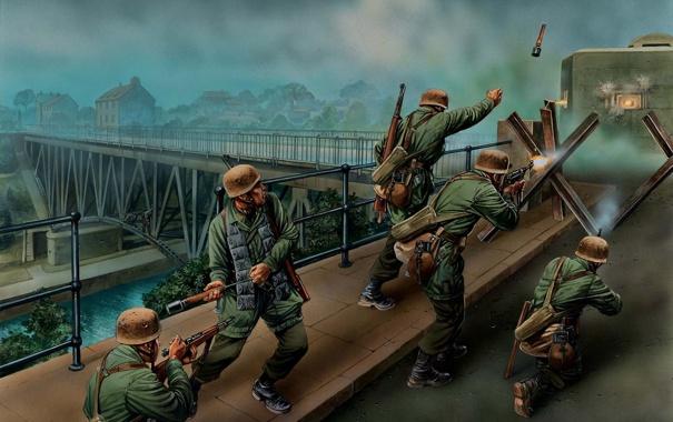 Фото обои мост, война, солдаты, Арт, мировая, утром, Вторая