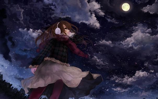 Фото обои ночь, луна, девочка