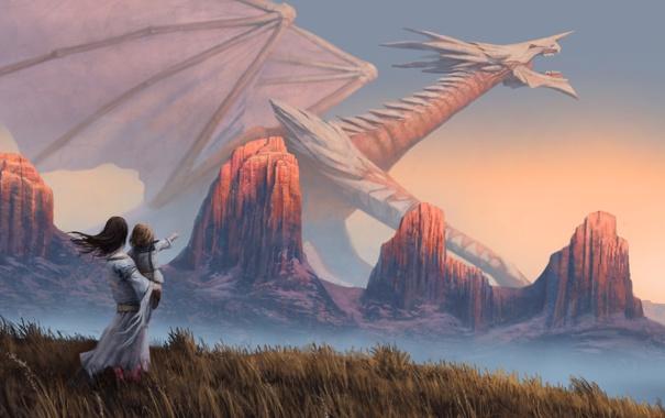 Фото обои поле, девушка, скалы, дракон, ребенок, арт, дитя