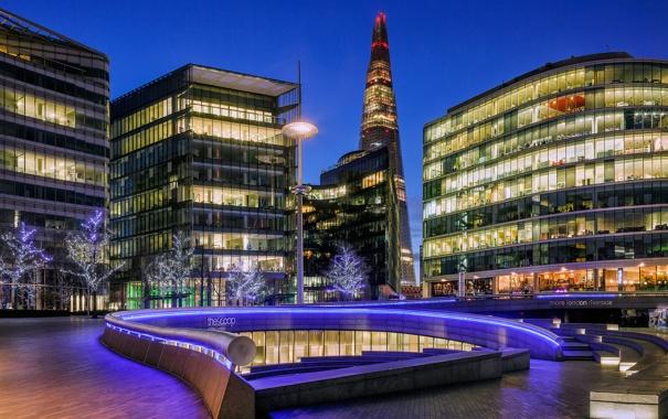 Фото обои деревья, город, огни, Англия, Лондон, здания, небоскреб