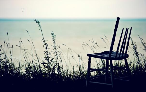 Фото обои море, стул, трава, птицы, горизонт