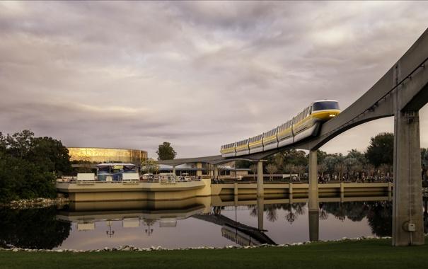 Фото обои мост, озеро, поезд, Диснейленд, photo, photographer, Disneyland