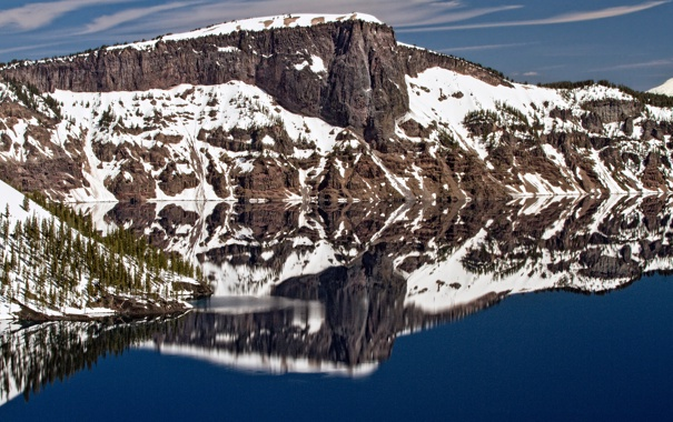 Фото обои небо, горы, скала, озеро, отражение, скалы, гора