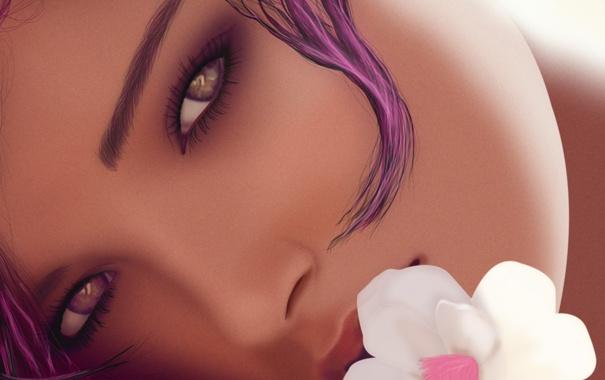 Фото обои цветок, глаза, взгляд, девушка, лицо, настроение, романтика