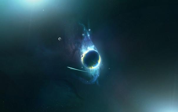 Фото обои планета, шлейф, спутники, spaceship