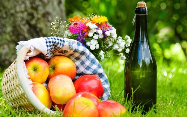 Фото обои яблоки, корзина, пикник, вино, трава, букет, салфетка