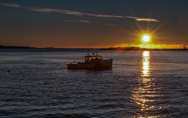 Фото обои море, солнце, утро, горизонт, катер