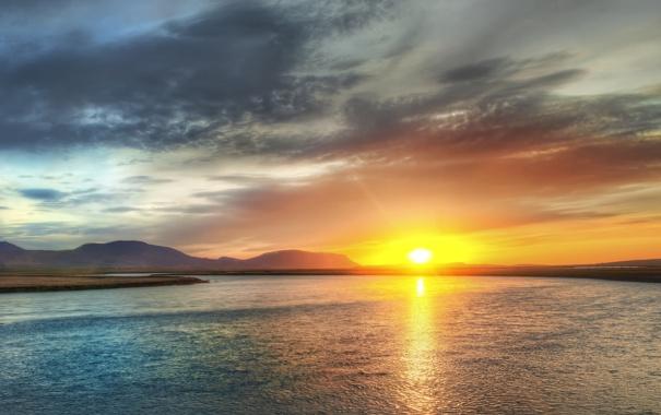 Фото обои небо, вода, солнце, фото, вид, закат солнца, красивые обои