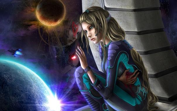 Фото обои девушка, космос, кровь, планеты, корабль, слезы, арт