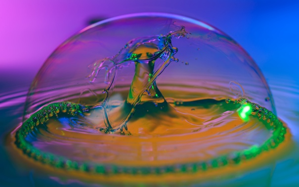 Фото обои вода, цвет, всплеск, блик, купол