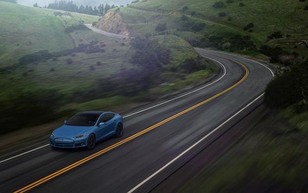 Фото обои Car, Blue, Speed, Front, Tesla, Road, P85D