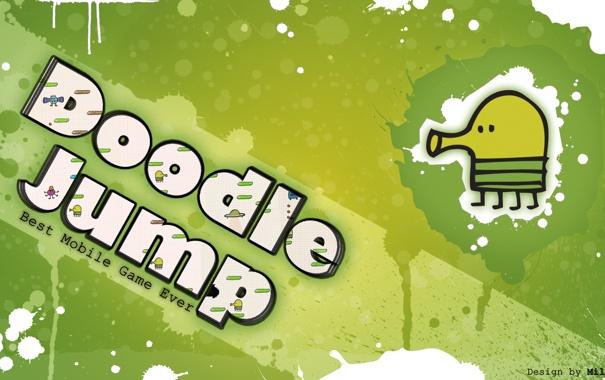 Фото обои зеленый, jump, прыжки, doodle, дудл, джамп