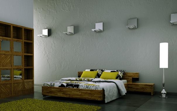 Фото обои комната, лампа, подушки, постель, коврик, полумрак, полки