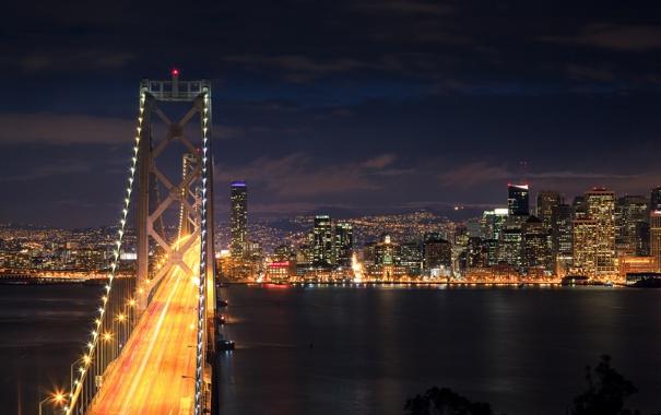Фото обои ночь, мост, город, огни, выдержка, сан-фрациско