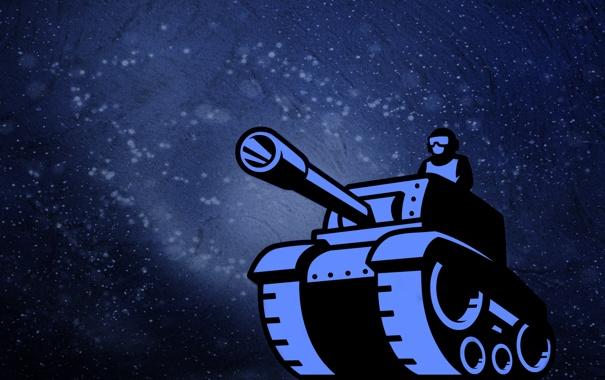Фото обои человек, танк, пушка, синий фон, танкист, tank