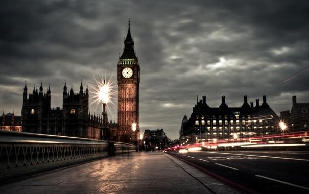 Фото обои England, Big Ben, Вестминстерский дворец, пасмурно, вечер, Великобритания, Биг-Бен