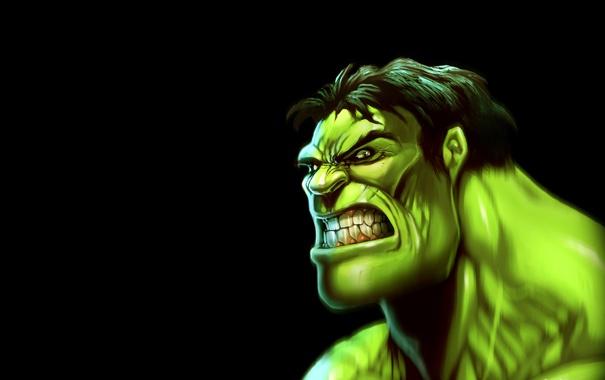 Фото обои Зеленый, Голова, Злой, Халк, Hulk, Темный, Head