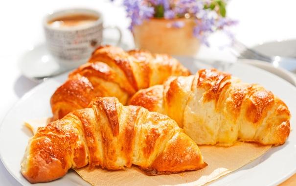 Фото обои кофе, завтрак, cup, coffee, круассаны, croissant, breakfast