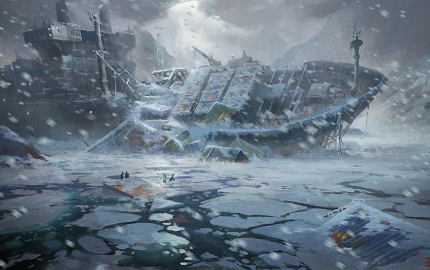 Фото обои холод, лед, море, снег, люди, корабль, катастрофа