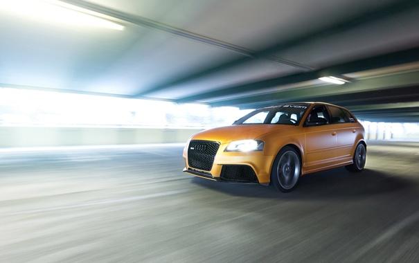 Фото обои Audi, ауди, авто, в движении, Gold Orange, RS3, Schwabenfolia