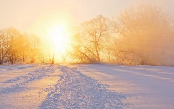 Фото обои зима, пейзаж, закат