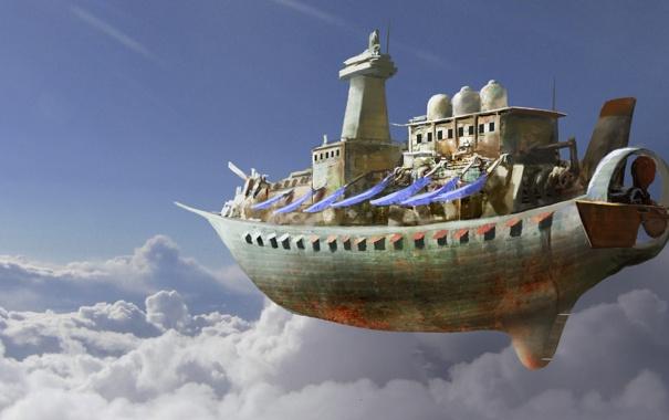 Фото обои облака, полет, корабль, арт, летучий, в небе