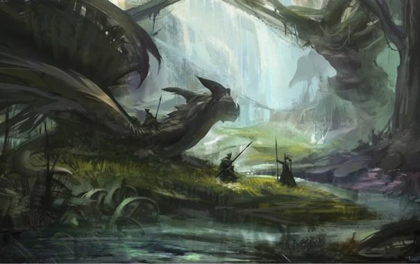 Фото обои лес, трава, деревья, река, дракон, арт, всадник