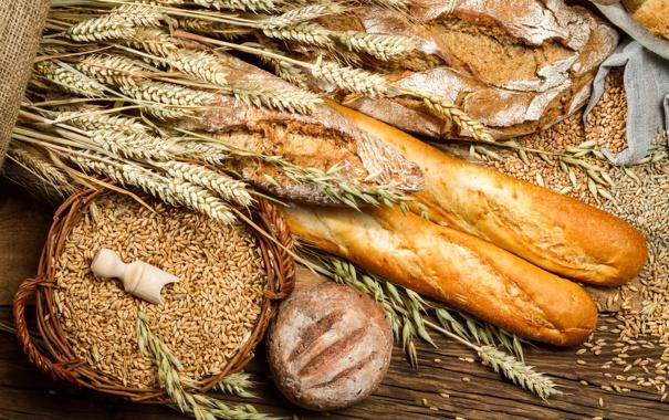Фото обои хлеб, колосья, мешок, пшено, выпечка, батоны