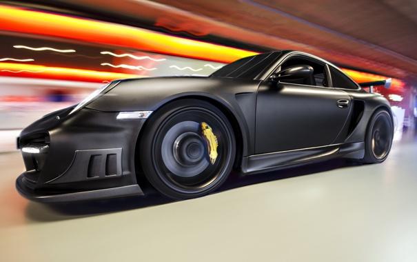 Фото обои огни, черный, тюнинг, скорость, Porsche, размытость, суперкар