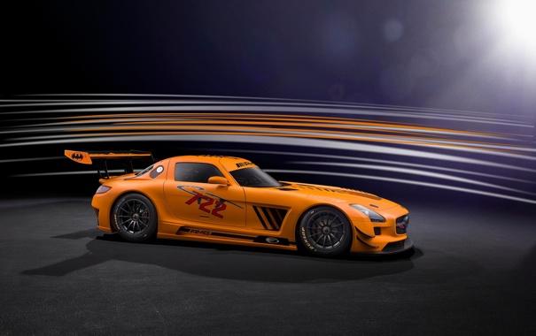 Фото обои оранжевый, Mercedes-Benz, профиль, AMG, SLS, GT3, orange