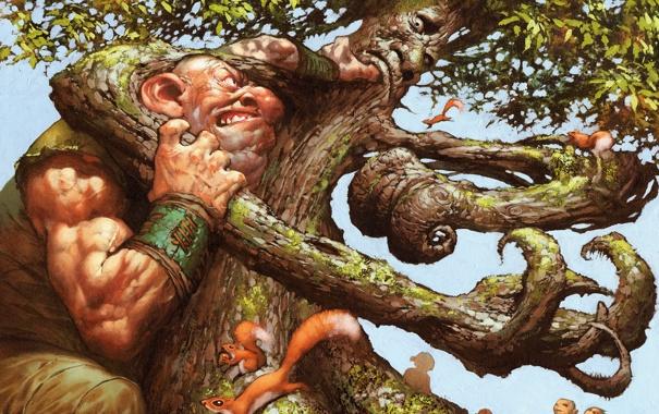 Фото обои дерево, рисунок, борьба, великан, белки