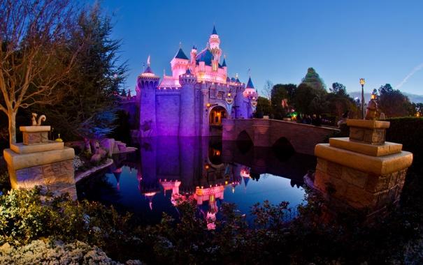 Фото обои вода, огни, отражение, сказка, подсветка, Замок Спящей Красавицы, Парк Диснейленд