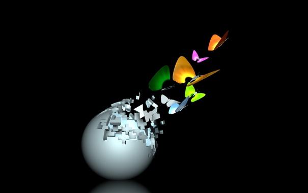 Фото обои бабочки, шар, разноцветные