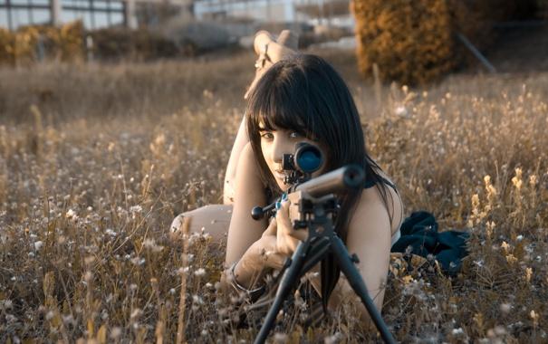 Фото обои девушка, оружие, Sniper