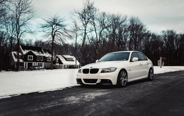 Фото обои зима, белый, снег, бмв, BMW, white, E90