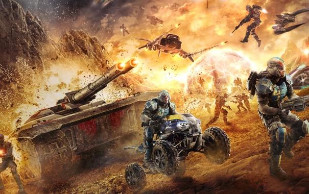 Фото обои война, солдаты, танк, квадроцикл, будущие, PlanetSide 2